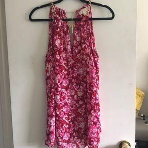 Pink floral Michael Kors sleeveless blouse